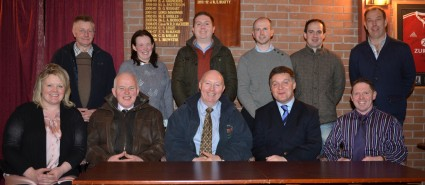 New Committee for 2013/14 with guest speaker Iain Kerr, BLCS. Back Row (L to R) Derek Bell, Christine Loughran, Paul Rainey, Cahir McAuley, David Kenwell, Alistair Graham, Front Row (L to R) Secretary Heather Hume, BLCS Rep. Jim Quail, Chairperson Henry Savage, Guest Speaker Iain Kerr, BLCS and National Rep. Derek Frew