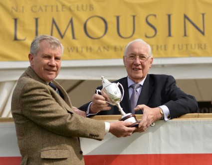 President of the NI Limousin Cattle Club, Jim Scott (left), with retiring President John Gordon MBE