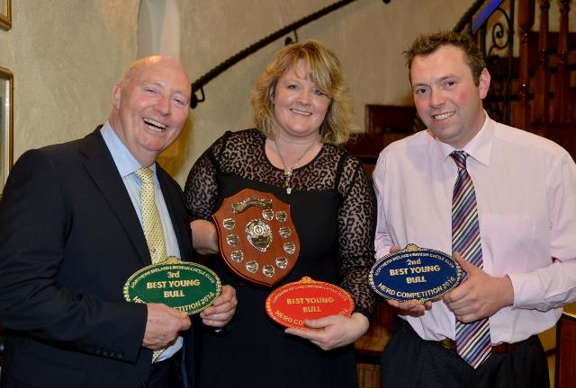 NI Club Chairman Henry Savage Secretary Heather Hume James McKay (Ampertaine Herd)
