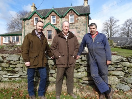 Murray, Peter and Graeme in front of the farmhouse at Mains of Mause (640x480)